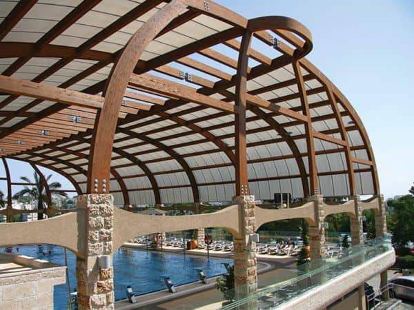 תמונה 6  סנפל דגם - מערכת קירוי אדריכלית מפוליקרבונט דופן - כפול