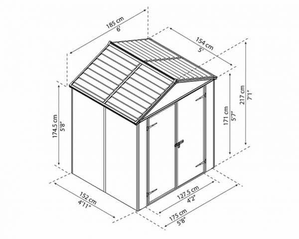 תמונה 8 מחסן גינה - Palram פלרם - דגם 5×6 רוביקון