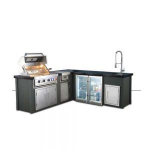 מטבח חוץ -AVIGAIL אביגיל - דגם דמוי אבן שחורה, פינתי